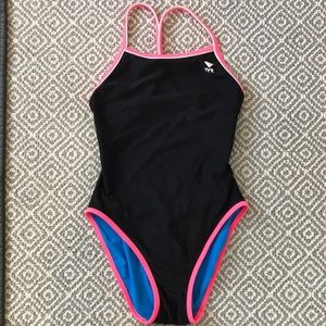 Black & Turquoise TYR reversible bathing suit XS